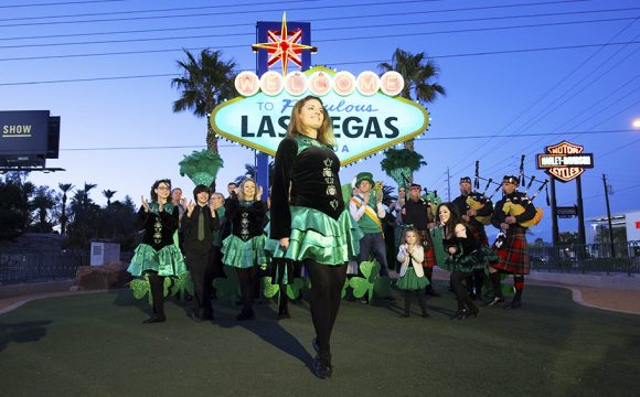 Welcome to Fabulous Las Vegas Sign Goes Green for St Patrick's Day