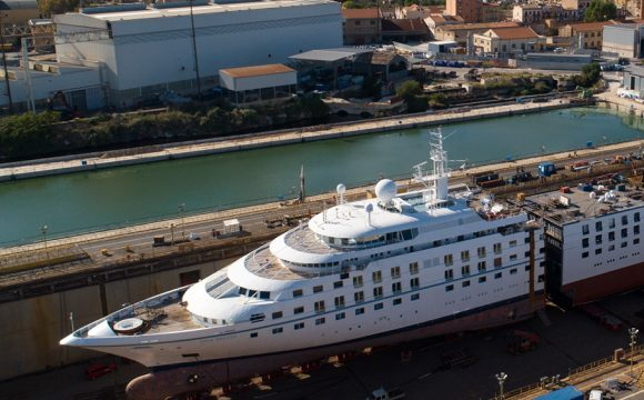 Fincantieri Cuts Windstar's Star Breeze in Half, Inserting 84-Foot (25.6 Meters) New Section in Palermo, Italy